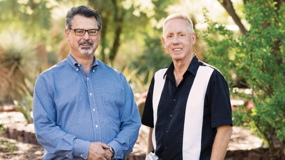Steve Phipps, left, and his mentor Arnold Bedak at the Desert Botanical Garden in Phoenix.