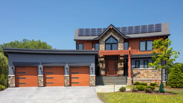 large home with solar panels