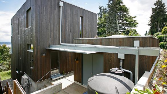 Rain cistern as part of sustainable home construction