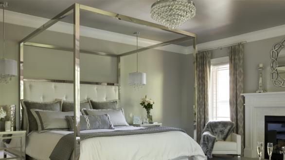 bedroom in neutral gray