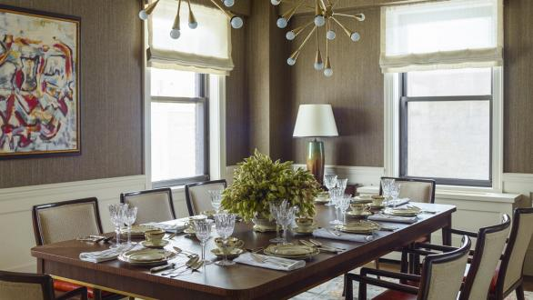 strong brown paired with white in dining room