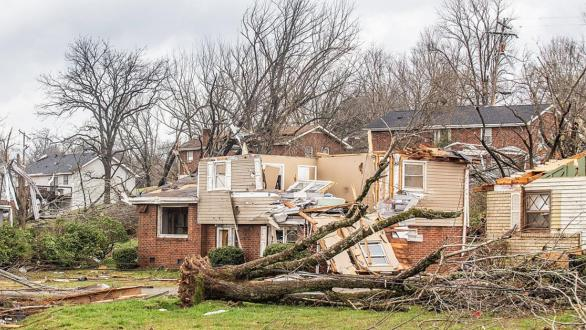 neighborhood damaged by tornado