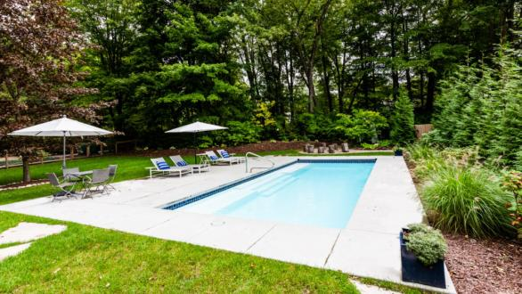 wooded vacation property with pool