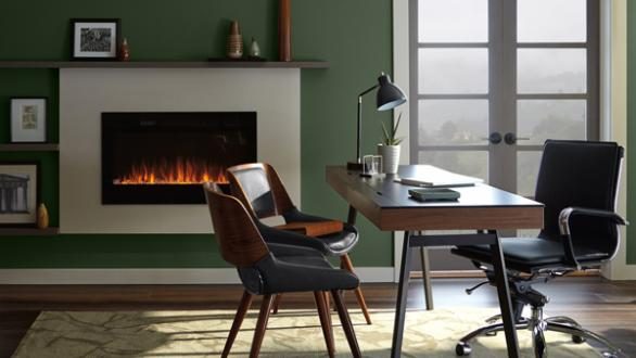 office room in forest green