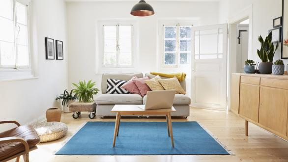 Image of bright living room with couch with rug, coffee table and chair