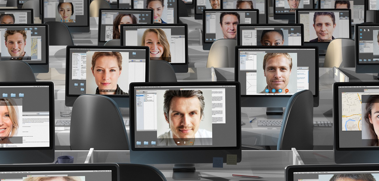 Faces on computer screens