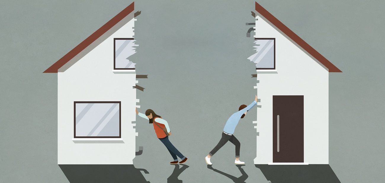 Man and woman splitting house