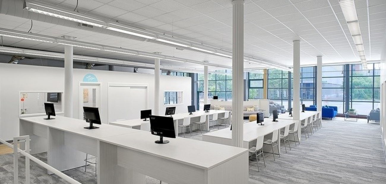 A spacious office setting