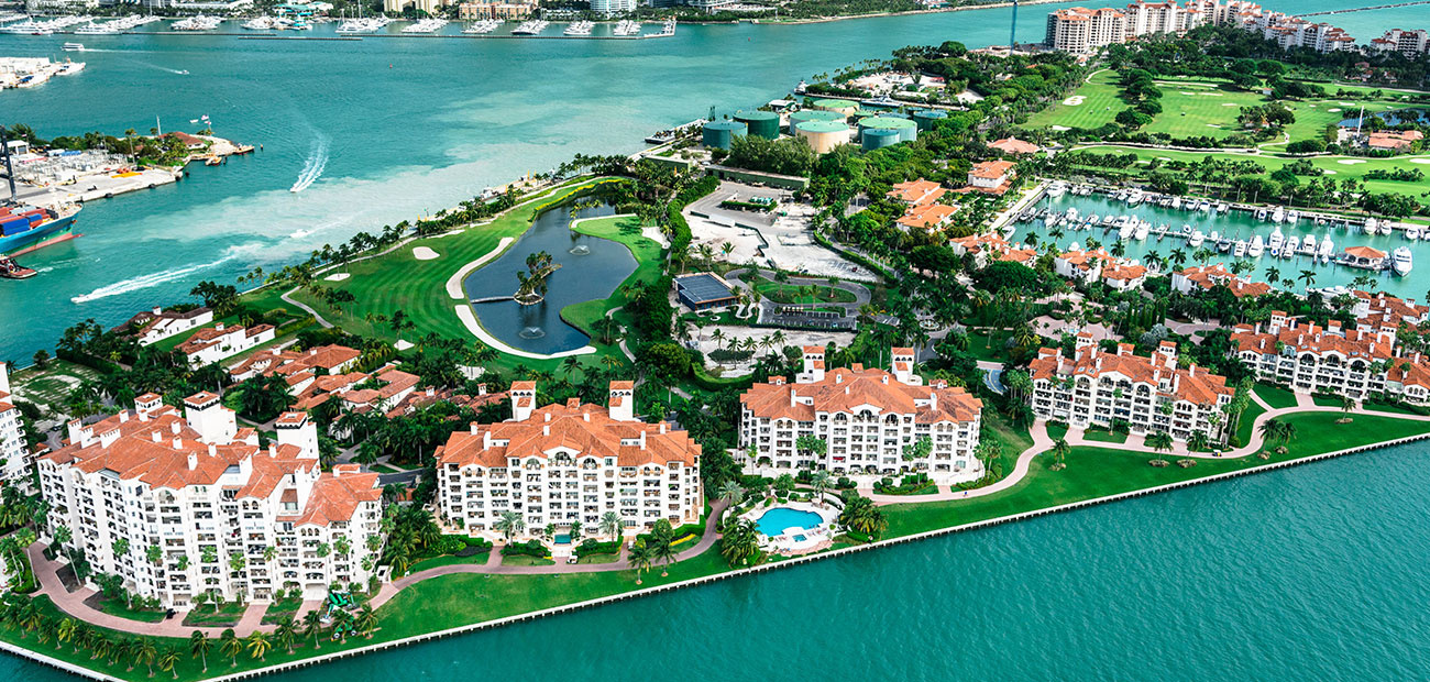 Miami fisher island aerial view