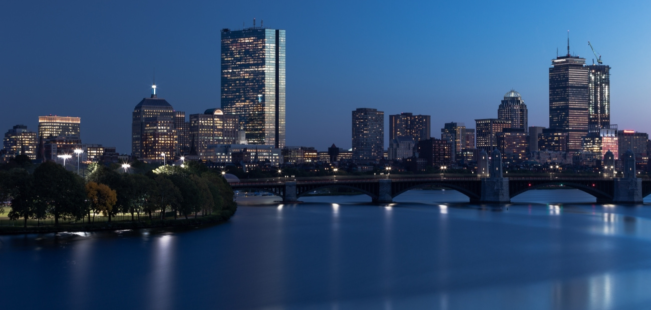 The Boston skyline at dusk