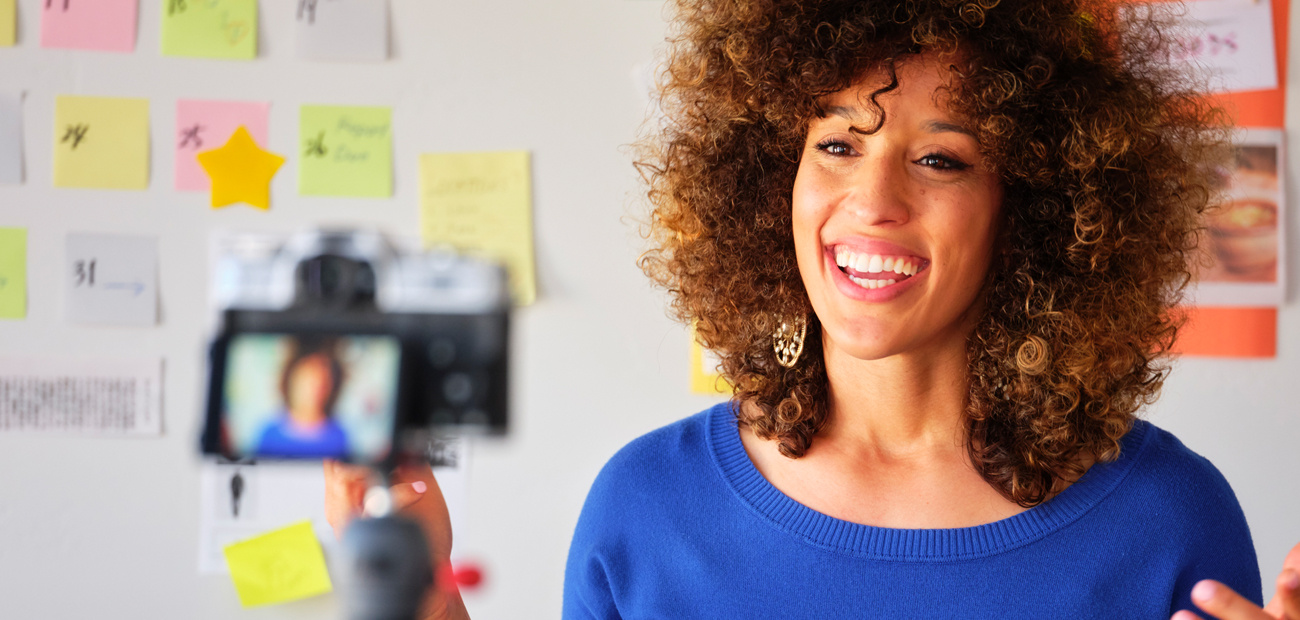 woman recording video to clients