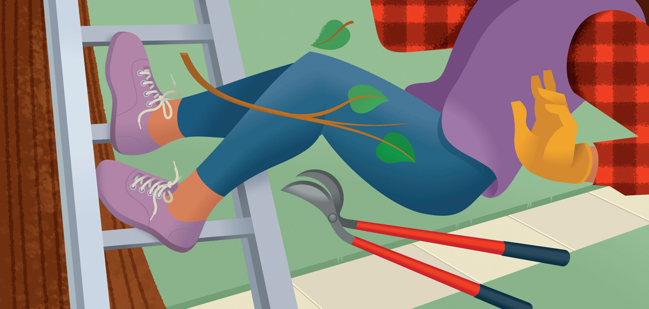 illustration woman falling off ladder