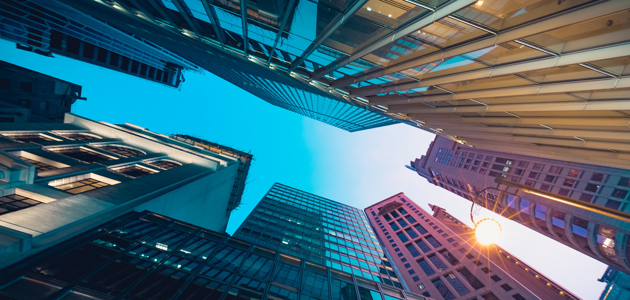 looking up at office buildings