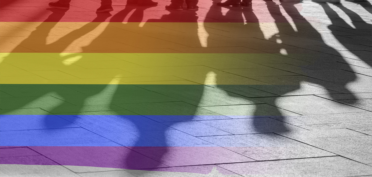 pride flag on shadows of people