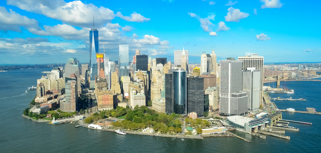 Aerial of Lower Manhattan with financial district and Freedom Tower