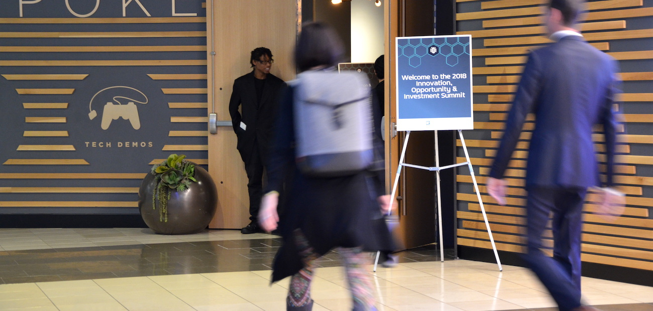 Attendees of the iOi conference heading toward entrance