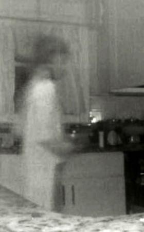 Camera capture of figure in kitchen